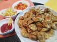 너무쉬운 후다닥간식! 물만두범벅과 감자튀김^^